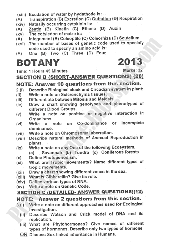 botany-2013-five-year-paper-class-XII
