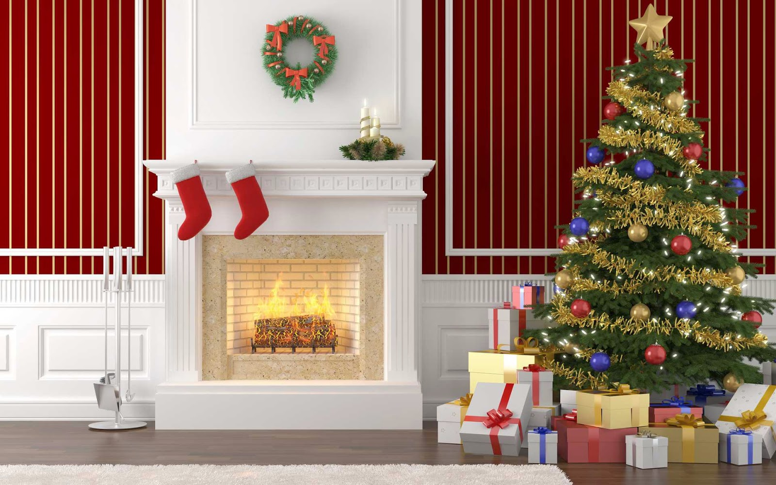 Christmas fireplace mantel decoration ideas for home made for Christmas decorations at home pictures