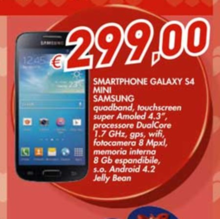 Miglior prezzo per gli store fisici per l'idea regalo di Bennet con Samsung Galaxy S4 Mini a 299 euro