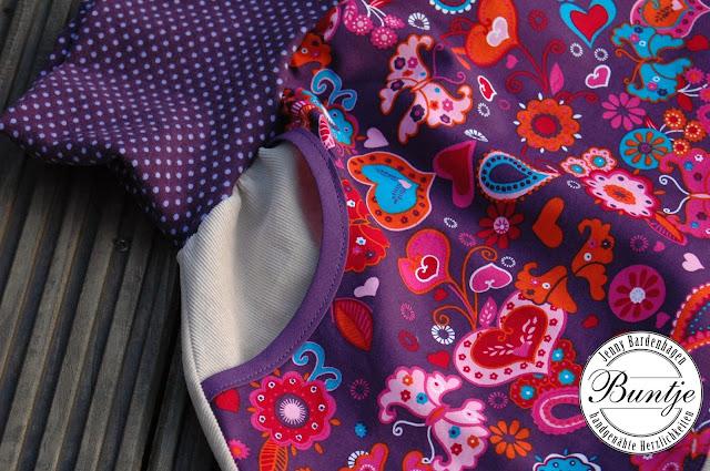 Pumphose Hose Cordhose Cord Sarouelhose Mitwachshose Bündchen beige lila Tasche FeeFee Dschinni nähen handmade Baumwolle Buntje 86/92