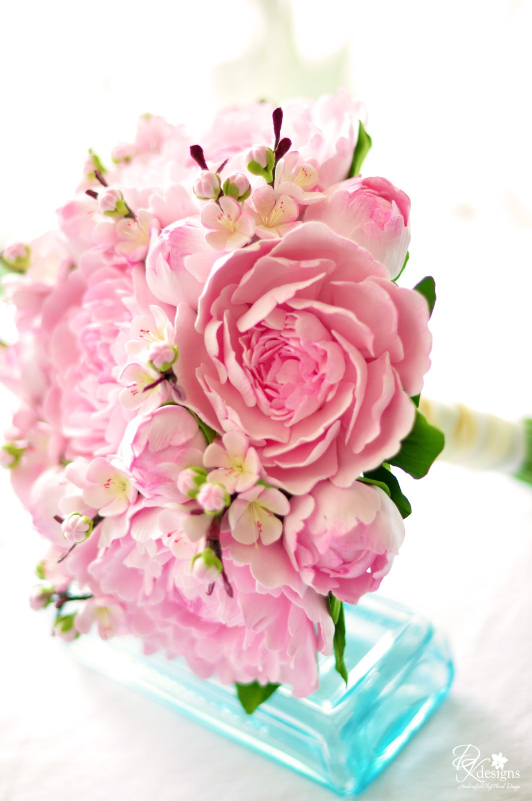 Pink Peony and Cherry Blossom Bouquet - DK Designs