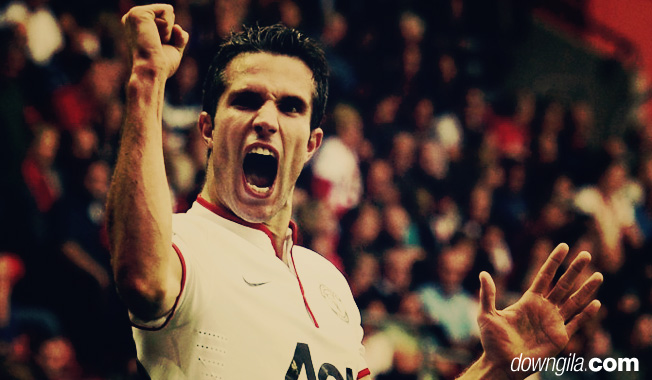 Manchester United's Robin van Persie, seen celebrating a hat-trick against
