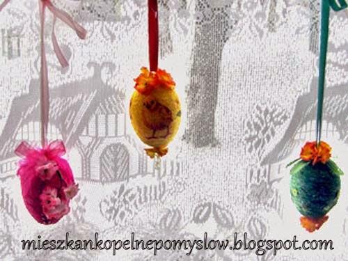 bibułkowe pisanki, dekorowanie jajek, jajka, kolorowe pisanki ozdoby świąteczne, pisanki, pisanki ze sznurka, Wielkanoc,