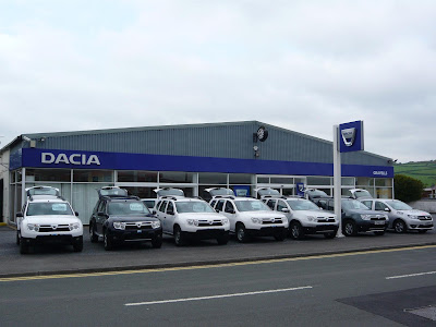 A selection of Dacia's at one of the many many dealerships