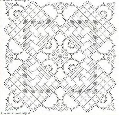 Схемы вязания мотивов квадратов крючок 87