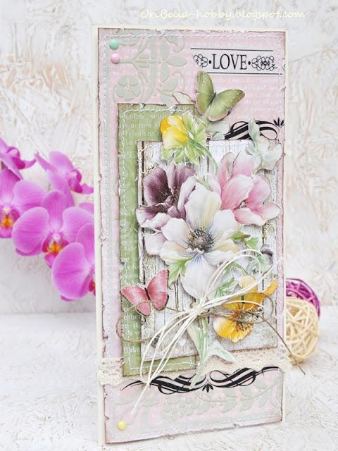 403. Kartka z kwiatami z papieru do decoupage.