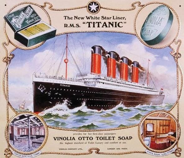 Propaganda do Sabonete Vinólia no Titanic em 1912