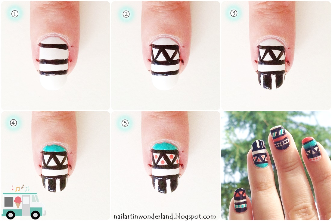 Tribal geometric nail art