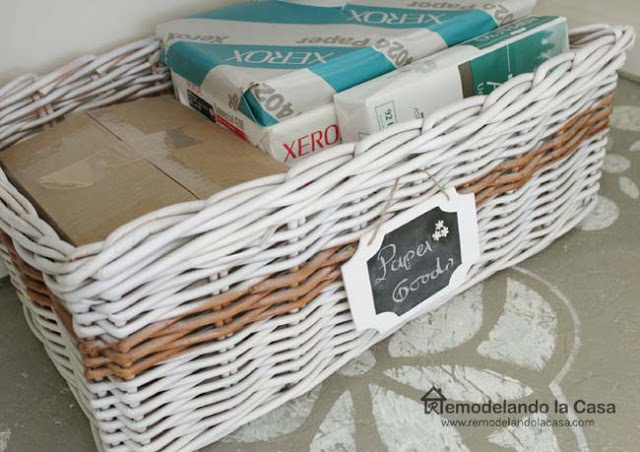 wicker basket in office closet with chalkboard tag