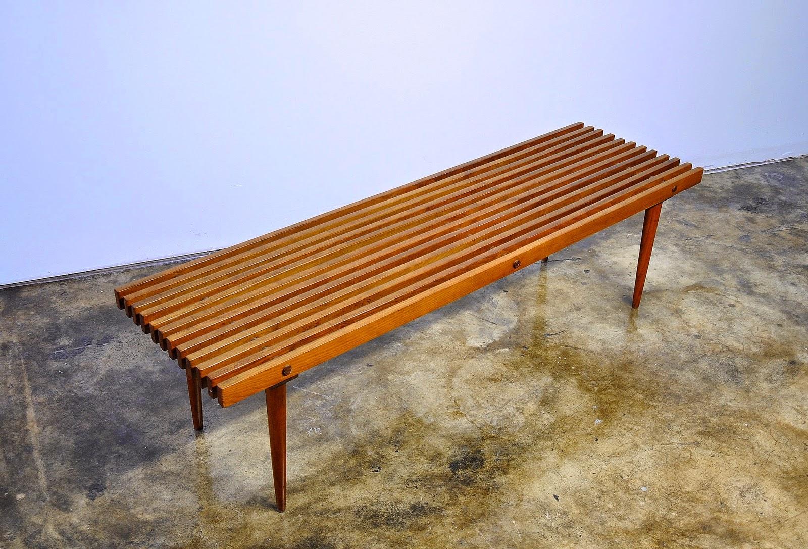 Select modern mid century modern slat bench mid century modern slat bench geotapseo Gallery