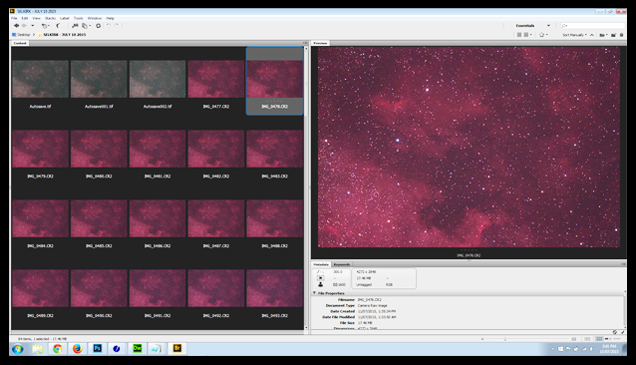 I assess the light frames in Adobe Bridge before stacking them in Deep Sky Stacker