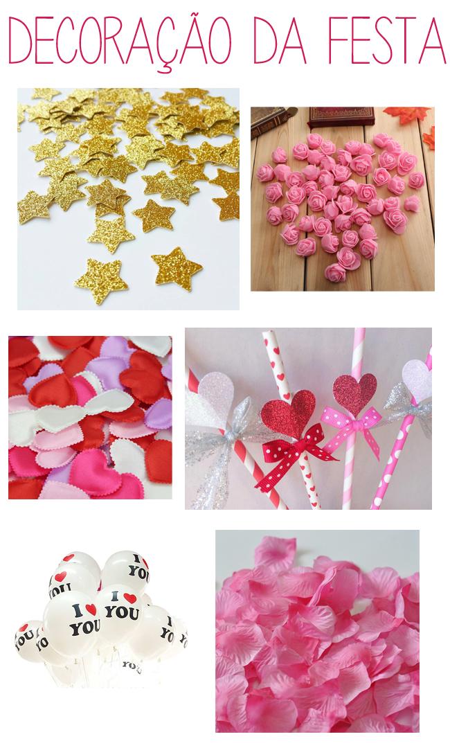 decoração, balões, canudinhos, corações, pétalas, glitter,