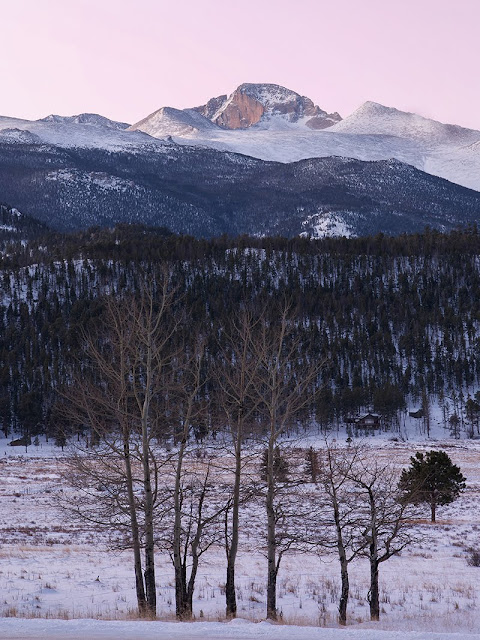 Longs Peak in Winter in Rocky Mountain National Park Colorado near Estes Park