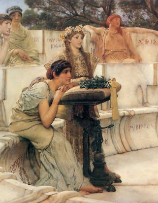 Detail from 'Sappho and Alcaeus', by Lawrence Alma-Tadema (1881) - via Shawnlipowski at Wikimedia Commons - public domain