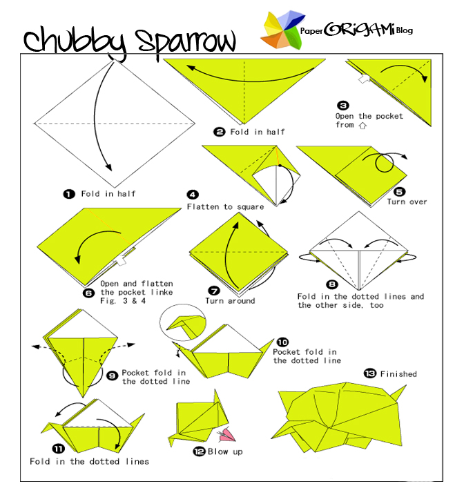 Traditional Origami Chubby Sparrow