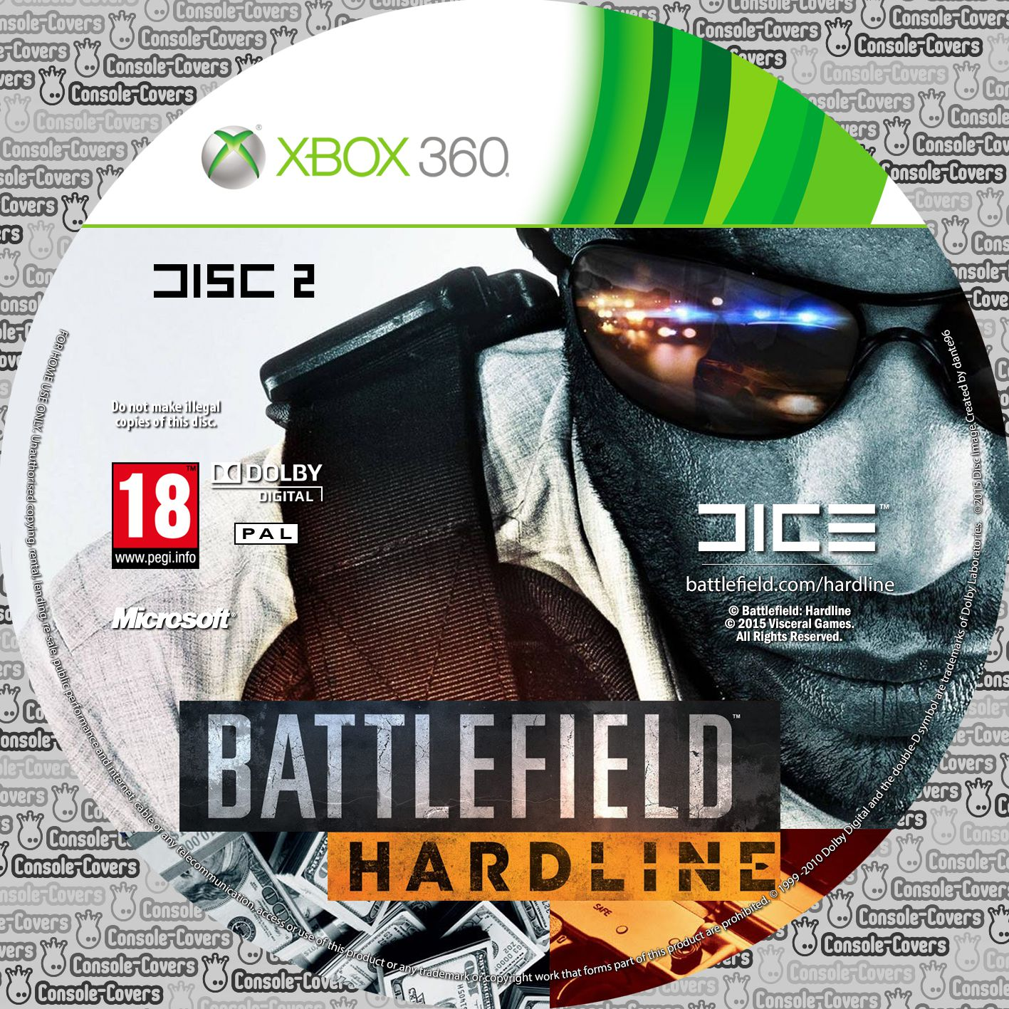Label Battlefield Hardline Disc 2 Xbox 360