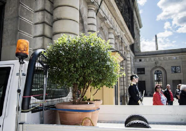 Prince Carl Philip, Sofia Hellqvist and Crown Princess Victoria were seen in preparing for the royal wedding at the Royal Palace