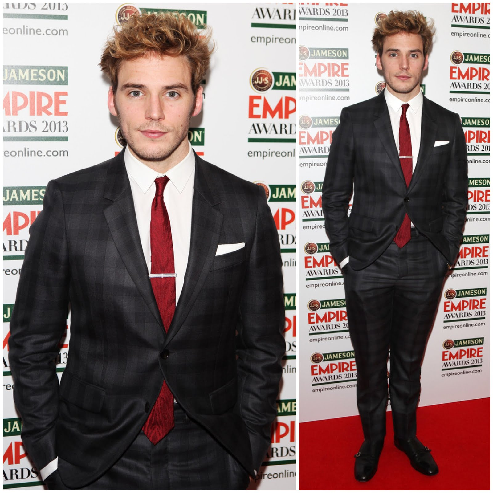 00O00 Menswear Blog Sam Claflin in Alexander McQueen SS13 charcoal grey checked suit and black double monk-strap shoes - Jameson Empire Awards 2013 at Grosvenor House Hotel, London