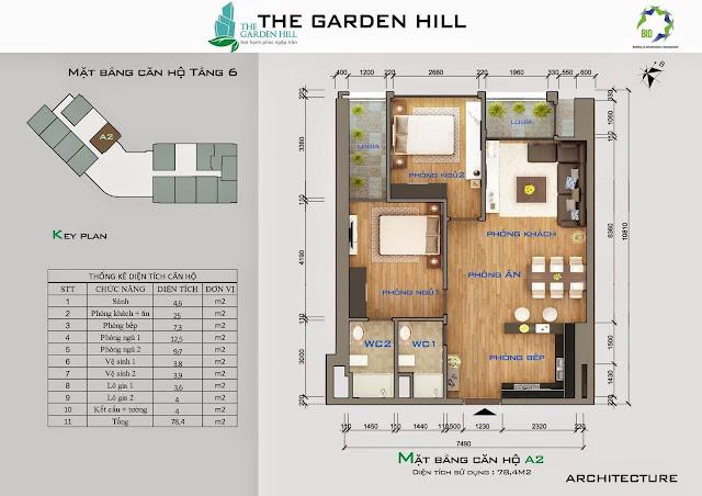 Căn A2 tầng 6 Garden Hill - 99 Trần Bình