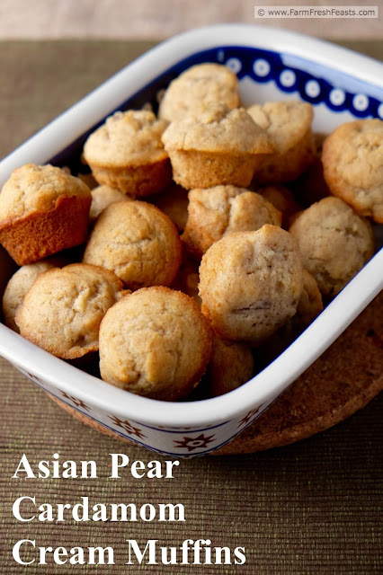 Cardamom-spiced Asian pear chunks fill this rich-with-cream whole wheat muffin recipe.