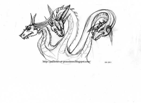 Paillettes et poussi res dragons - Dessin de tete de dragon ...