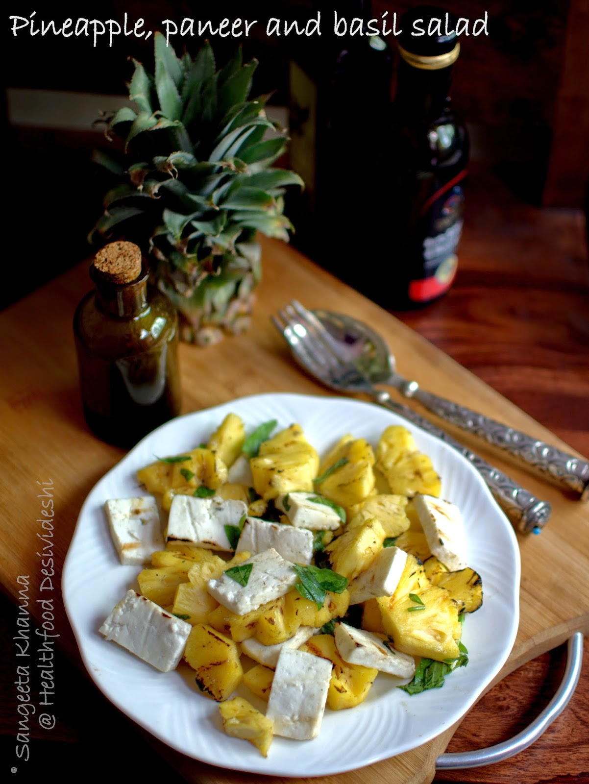 grilled pineapple and paneer salad with basil and pine nuts ...