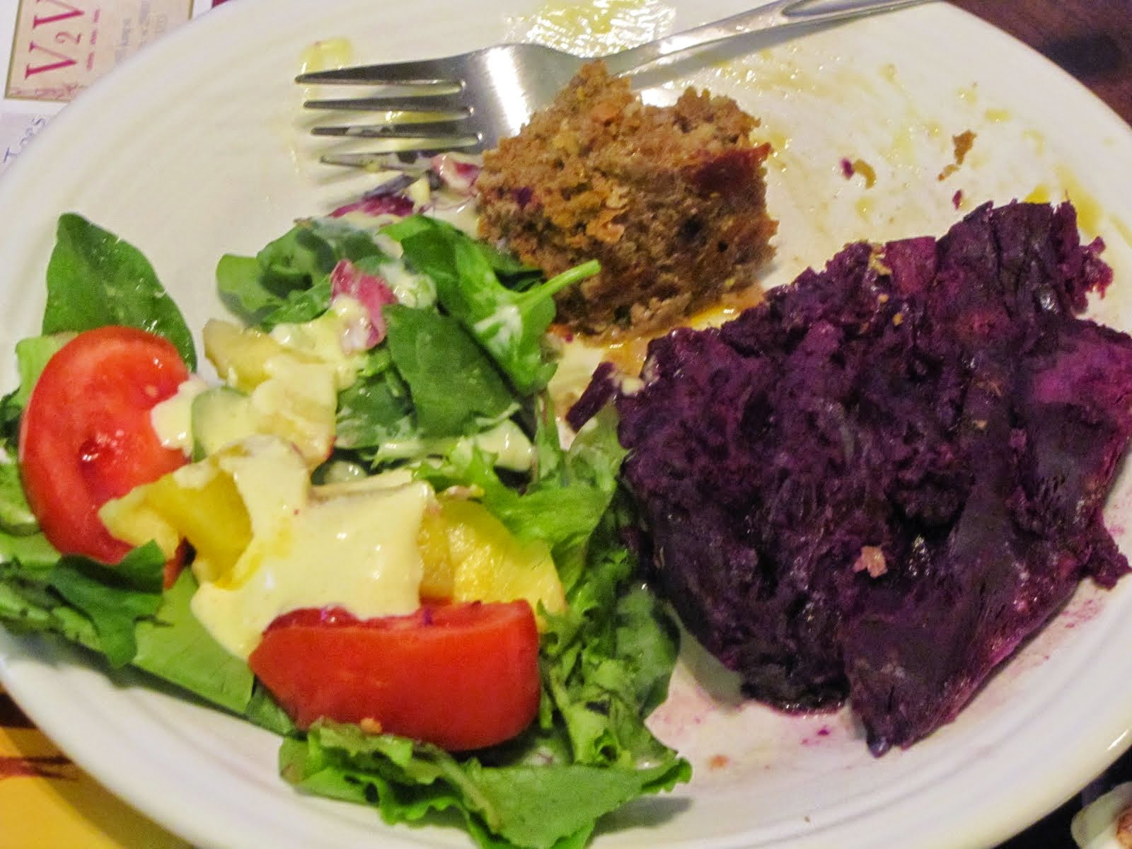 Meatloaf, Purple Sweet Potato, Salad