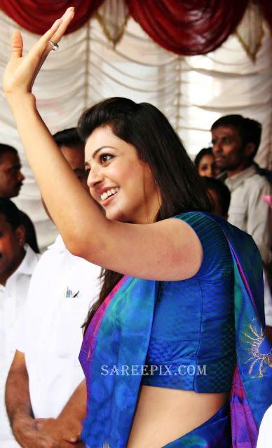 Kajal-agarwal-saree-Karikkineth-silks-inauguration-Kottayam