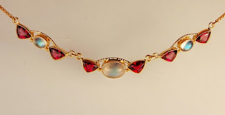 Different shaped red and white stone necklace