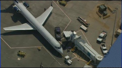 An image from wsoctv.com showing the US Airways plane as experts try to move away a swarm of bees
