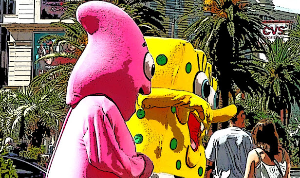 Spiderman, Bob esponja y Buzz Lightyear juntos en el Strip de Las Vegas