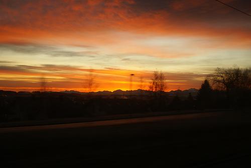 train sunset europe