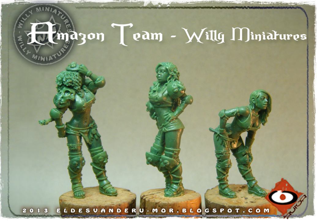 Foto de varias miniaturas del Equipo Blood Bowl de Amazonas de WILLY Miniatures hechas por ªRU-MOR. Blitzers and linewoman, fantasy football