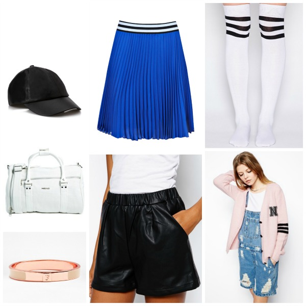 Back to school varsity fashion edit, fcuk rose gold bangle, head 1989 holdall white, leather cap forever 21, boohoo cheerleading skirt, referee socks, initial cricket varsity cardigan, leather shorts, asos, pretty little thing
