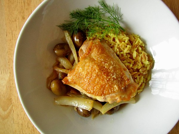 ... : Food: Crispy Braised Chicken Thighs with Olives, Lemon, and Fennel
