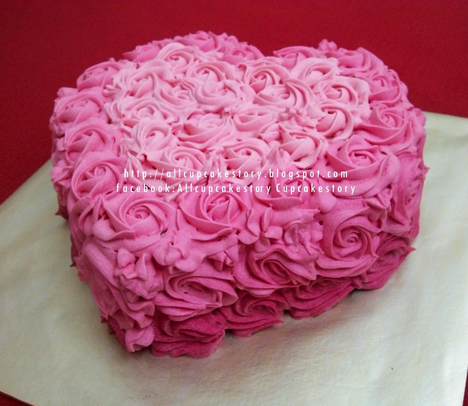 Allcupcakestory: Rosette Love Birthday Cake