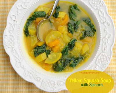 Yellow Squash Soup with Spinach, just squash, bell peppers and spinach in a simple soup but somehow ever so much more. Low carb. WW friendly. Easily vegan.