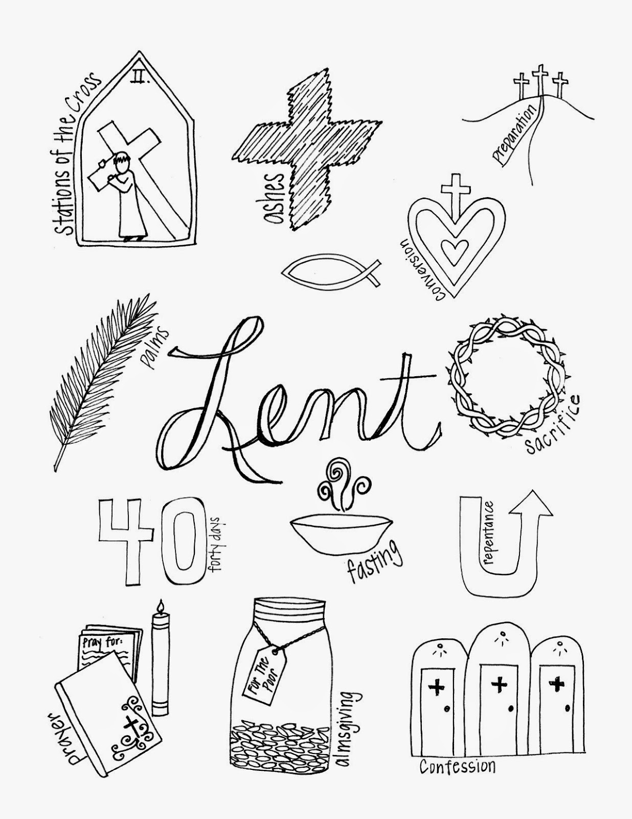 Look To Him And Be Radiant What Lent Looks Like Lent Coloring Pages Worksheets