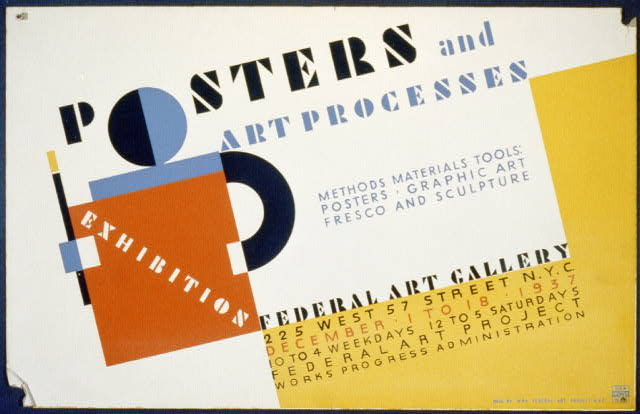 art, vintage, vintage posters, advertising, retro prints, federal art project, free download, graphic design, classic posters, exhibition, Poster and Art Processes Exhibition - Vintage Art Poster - Fedearal Art Gallery