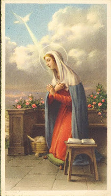 estampita antigua de la Virgen