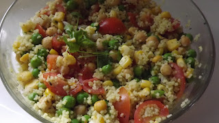 Cous Cous, recipe, picnic, suggestion, food, colourful, peas, chickpeas, tomatoes, sweetcorn