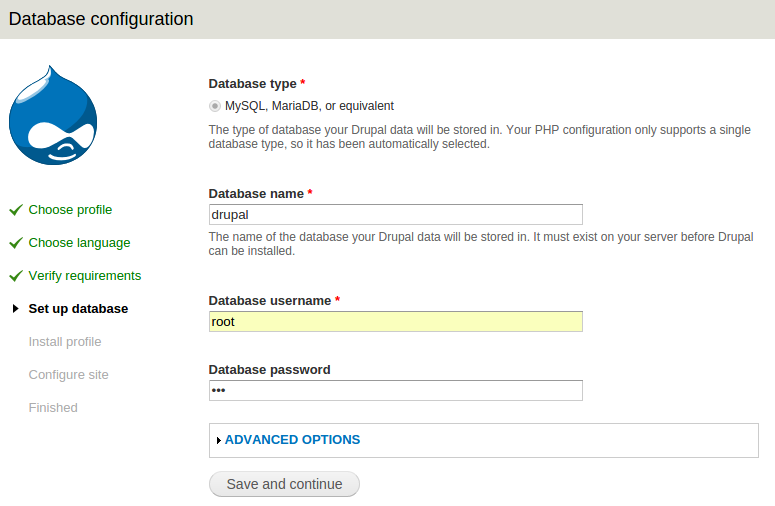 instal drupal step-3 setting database