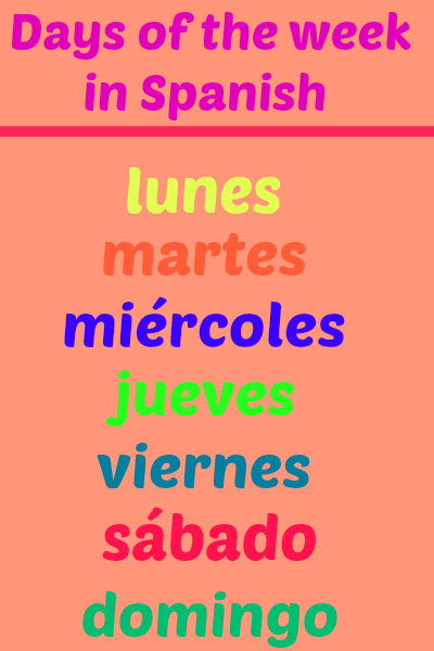 Learn days of the week in Spanish. Visit www.soeasyspanish.com