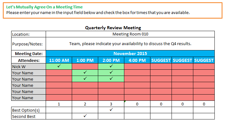 excel spreadsheets help schedule meeting time template. Black Bedroom Furniture Sets. Home Design Ideas