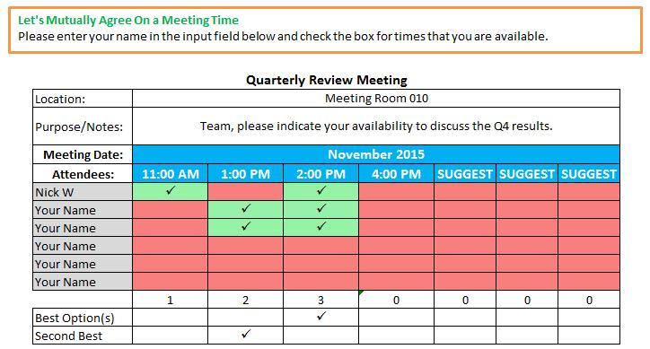 Excel Spreadsheets Help October 2015 – Meeting Scheduler Template