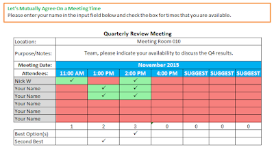 meeting scheduler in excel spreadsheet