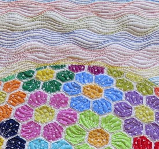 Colorful applique quilt