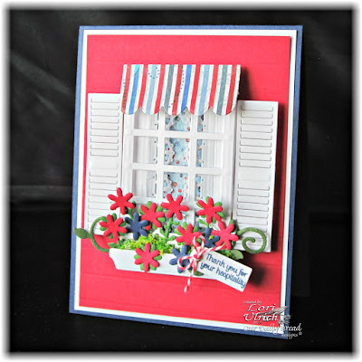Our Daily Bread Designs Stamp sets: Home Sweet Home, Our Daily Bread Designs Custom Dies: Welcoming Window, Flower Box Fillers, Window Shutter and Awning, Mini Tags, Layered Lacey Squares, Our Daily Bread Designs Patriotic Paper Collection