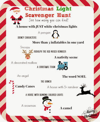 Christmas scavenger hunt pin from Pinterest