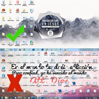 Escritorio de Windows organizado Vs Escritorio de Windows lleno y desordenado.